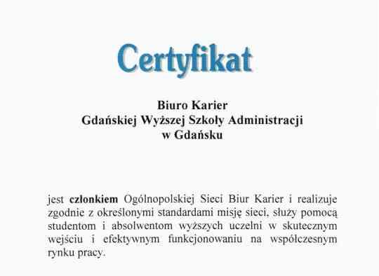 Certyfikat Biura Karier